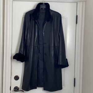 Leather Coat w/ Rabbit Fur Trip - Size M
